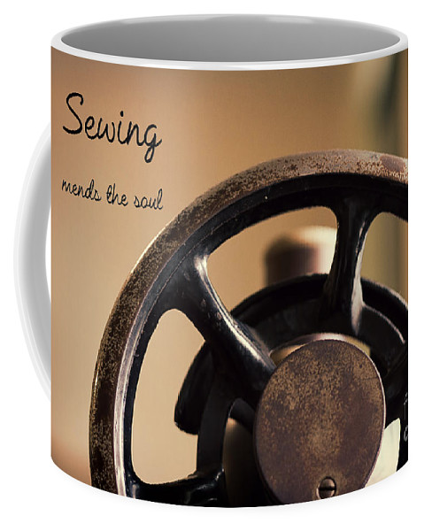 Sewing Coffee Mug featuring the photograph Sewing Mends The Soul by Terry Weaver