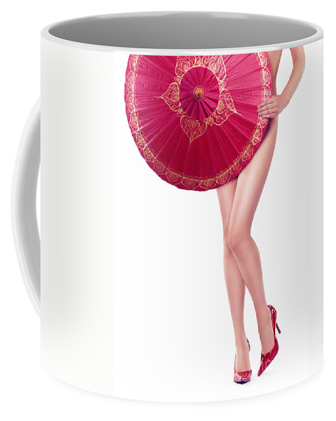 Sexy Coffee Mug featuring the photograph Sexy Asian Woman With Red Oriental Umbrella by Oleksiy Maksymenko