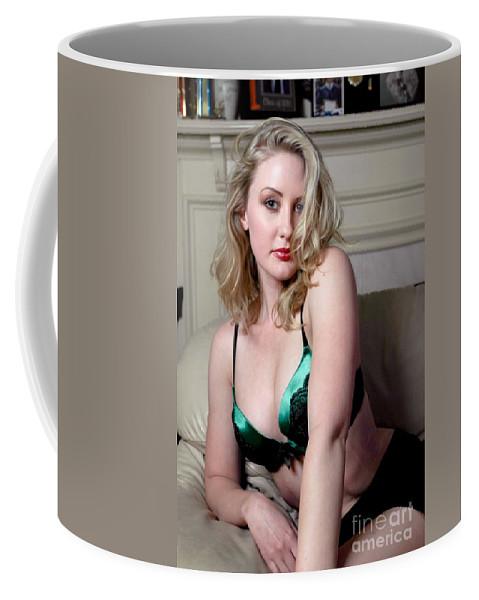 Woman Coffee Mug featuring the photograph Sexy Blond Boudoir by Henrik Lehnerer