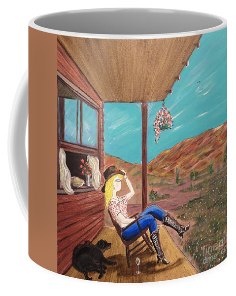 John Lyes Coffee Mug featuring the painting Sexy Cowgirl Sitting On A Chair At High Noon by John Lyes
