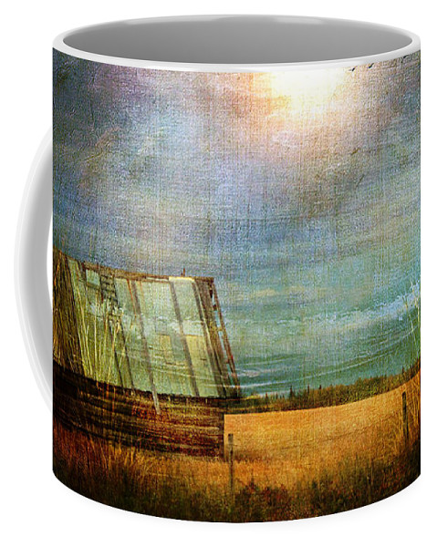 Shack Coffee Mug featuring the photograph Shack On The Prairie Corner by Sandra Foster