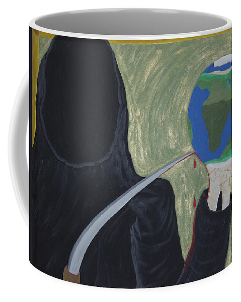Painting Coffee Mug featuring the painting Shadow Of Fear by Dean Stephens