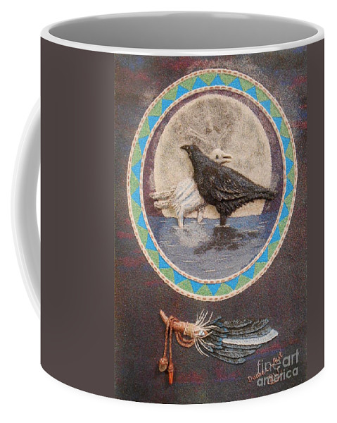 Raven Coffee Mug featuring the mixed media Shaman Black Raven And His Mate Medicine Woman Blue Fairy Animal Spirit Medicine Wheel by Duane West