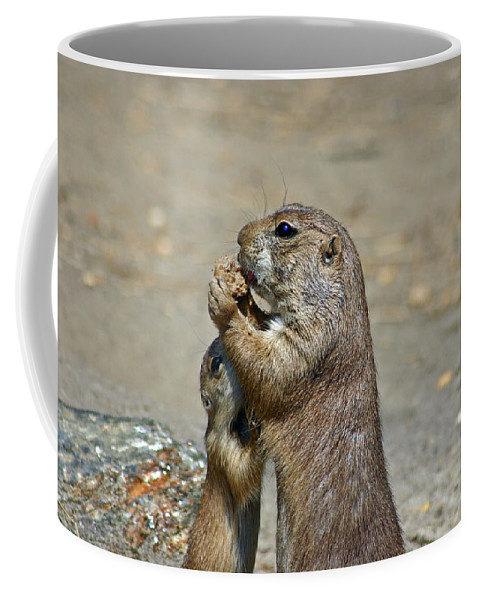 Prairie Dog Coffee Mug featuring the photograph Sharing by David Rucker