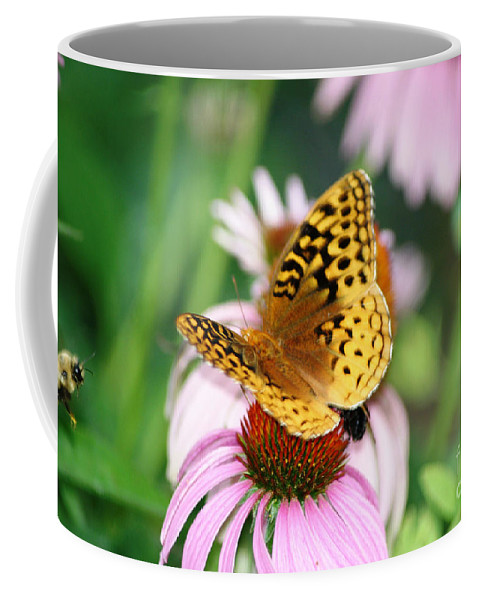 Butterfly Coffee Mug featuring the photograph Sharing by Living Color Photography Lorraine Lynch