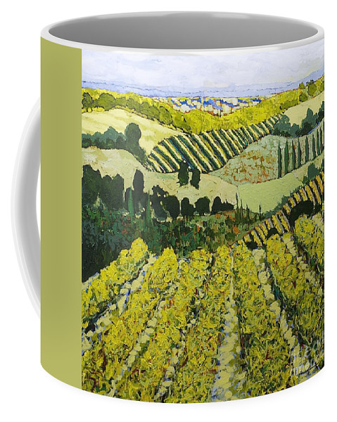 Landscape Coffee Mug featuring the painting Sharing The Discovery by Allan P Friedlander