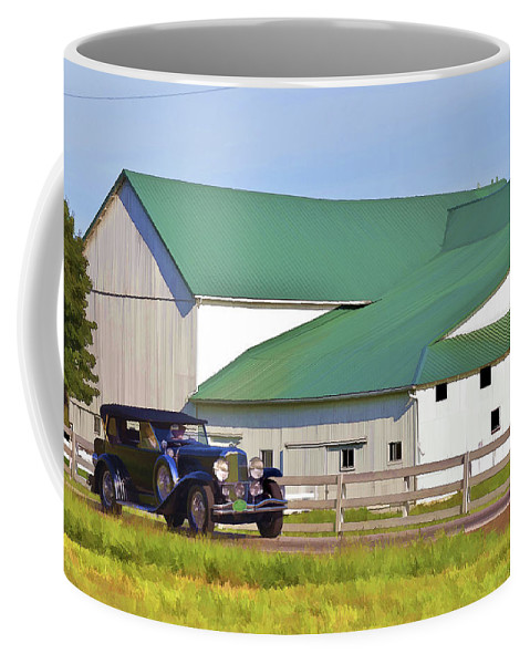Barn Coffee Mug featuring the photograph Sharing The Road by Jack R Perry