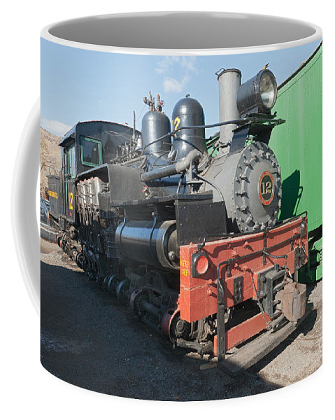Colorado Coffee Mug featuring the photograph Shay Engine 12 In The Colorado Railroad Museum by Fred Stearns