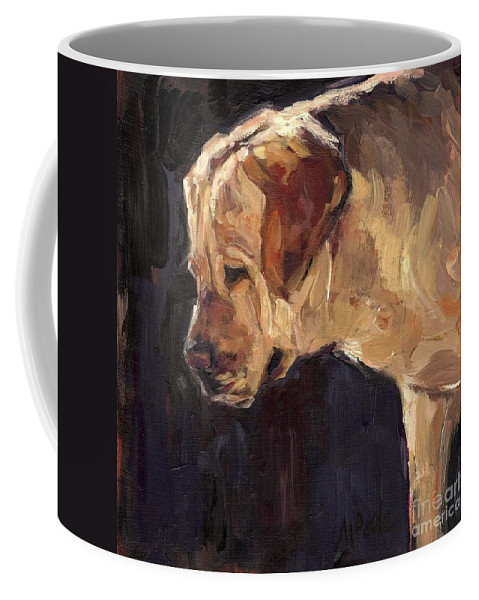 Yellow Labrador Retriever Coffee Mug featuring the painting She Is A Looker by Molly Poole