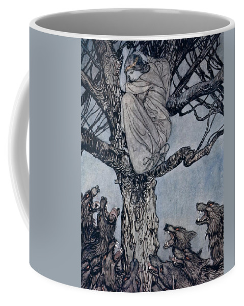 Fairy Story; Fairy Tale; Female; Tree; Wolf; Snarling; Branches; Hiding; Princess; Irish Mythology; Myth; Legend Coffee Mug featuring the drawing She Looked With Angry Woe At The Straining And Snarling Horde Below Illustration From Irish Fairy by Arthur Rackham