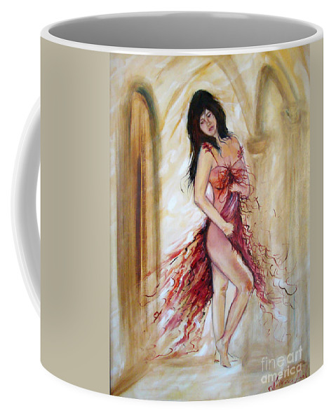 Contemporary Art Coffee Mug featuring the painting She by Silvana Abel