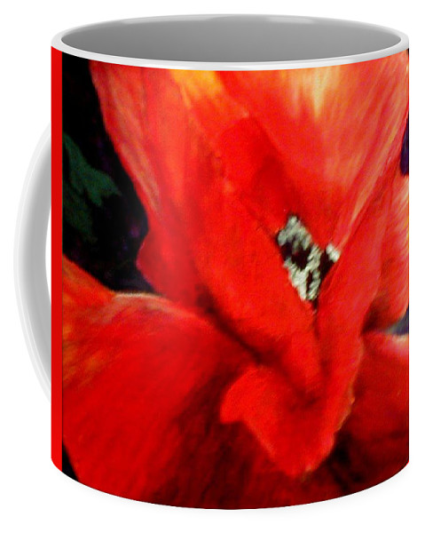 Floral Coffee Mug featuring the painting She Wore Red Ruffles by Gail Kirtz