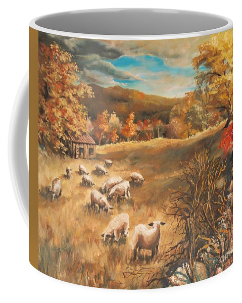 Oil Painting Coffee Mug featuring the painting Sheep in October's field by Joy Nichols