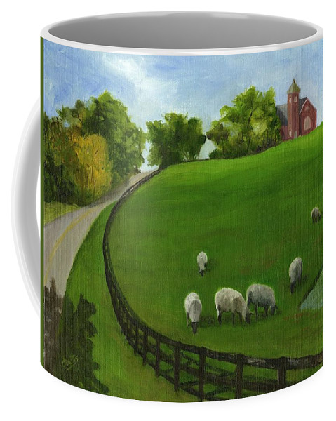 Farm Scenes. Pasture Scenes Coffee Mug featuring the painting Sheep May Safely Graze by Deborah Butts