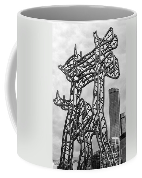 Melbourne Australia City Cities Cityscape Cityscapes Travellers Sculptures Shelter Sculpture Architecture Building Buildings Structure Structures Skyscraper Skyscrapers Black And White Nadim Karam Coffee Mug featuring the photograph Shelter 2 by Bob Phillips