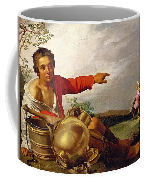 Pointing Coffee Mug featuring the painting Shepherd Boy Pointing At Tobias And The Angel by Abraham Bloemaert