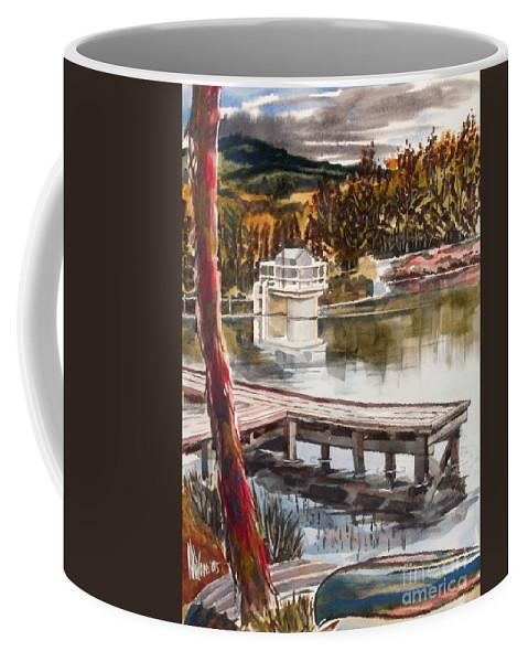 Shepherd Mountain Lake In Twilight Coffee Mug featuring the painting Shepherd Mountain Lake In Twilight by Kip DeVore