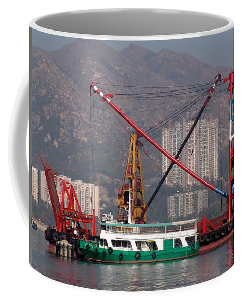 Crane Coffee Mug featuring the photograph Shipping Crane by Ian Mcadie