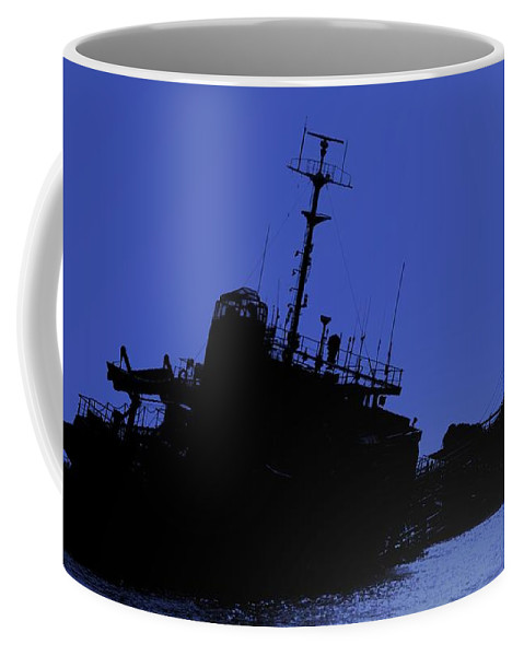 Shipwreck Coffee Mug featuring the photograph Shipwreck Of A Beached Diesel Tanker At Night by Yali Shi