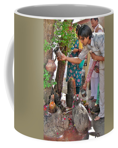 Shiva Coffee Mug featuring the photograph Morning Offerings At A Shiva Temple - India by Kim Bemis