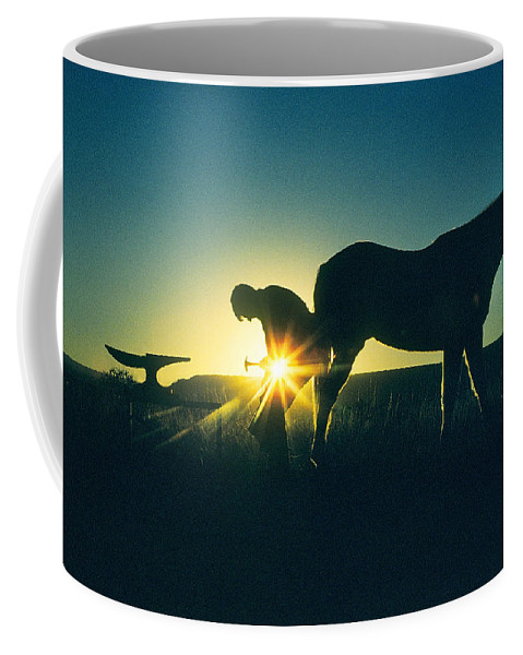 Farrier Coffee Mug featuring the photograph Shoeing A Morgan by Buddy Mays