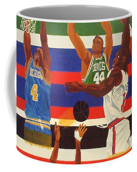 Basketball Coffee Mug featuring the painting Shoots N Hoops by Leslye Miller
