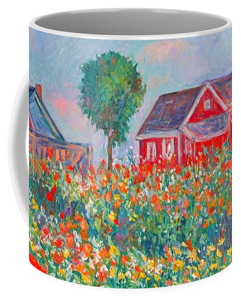 Landscape Coffee Mug featuring the painting Shore Flowers by Kendall Kessler