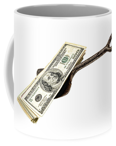 Cash Coffee Mug featuring the photograph Shovel Of Dollar by Olivier Le Queinec