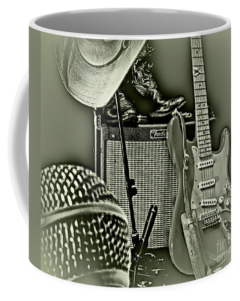 Music Coffee Mug featuring the photograph Show's Over - B W by Robert Frederick