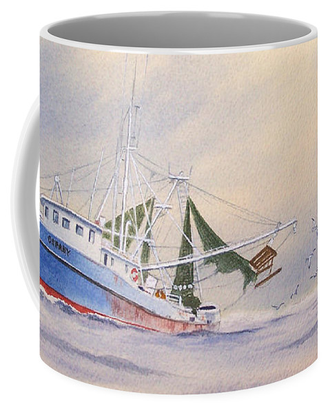 Shrimp Boat Coffee Mug featuring the painting Shrimp Boat On The Gulf by Bill Holkham