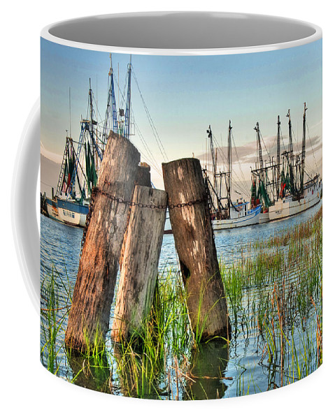 Lowcountry Coffee Mug featuring the photograph Shrimp Dock Pilings by Scott Hansen
