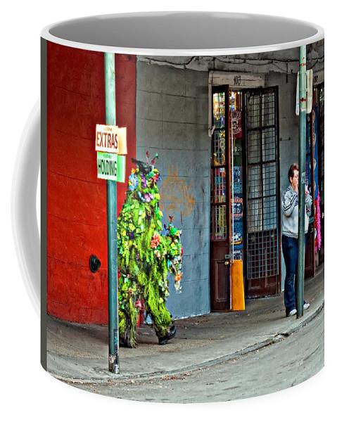 French Quarter Coffee Mug featuring the photograph Shrubman On The Move by Steve Harrington