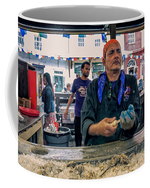 Man Coffee Mug featuring the photograph Shucking Oysters In The French Quarter by Kathleen K Parker