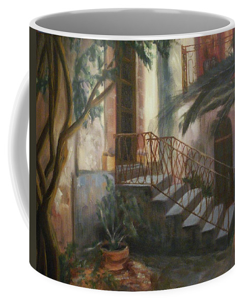 Sicily Coffee Mug featuring the painting Sicilian Nunnery by Donna Tuten