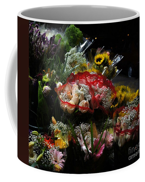 Bouquets Coffee Mug featuring the photograph Sidewalk Flower Shop by Lilliana Mendez
