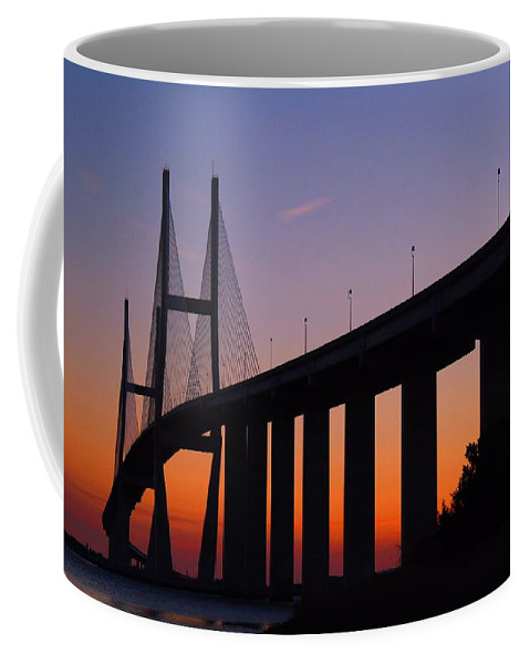 Bridge Coffee Mug featuring the photograph Sidney Lanier Bridge At Sunset by Kathryn Meyer