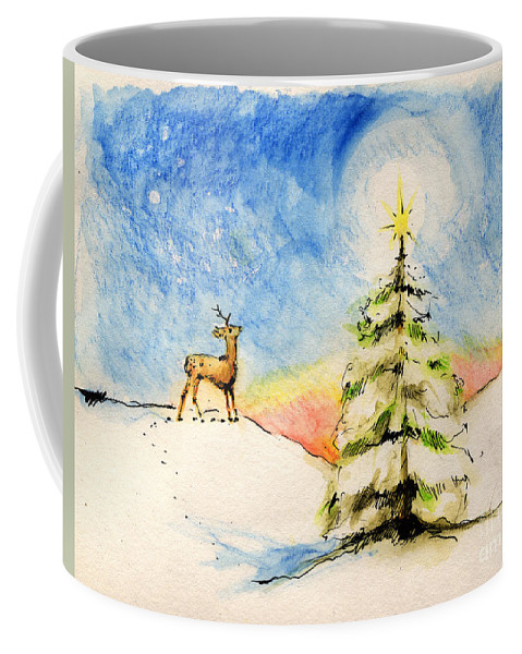 Christmas Coffee Mug featuring the painting Silent Night by Angel Tarantella