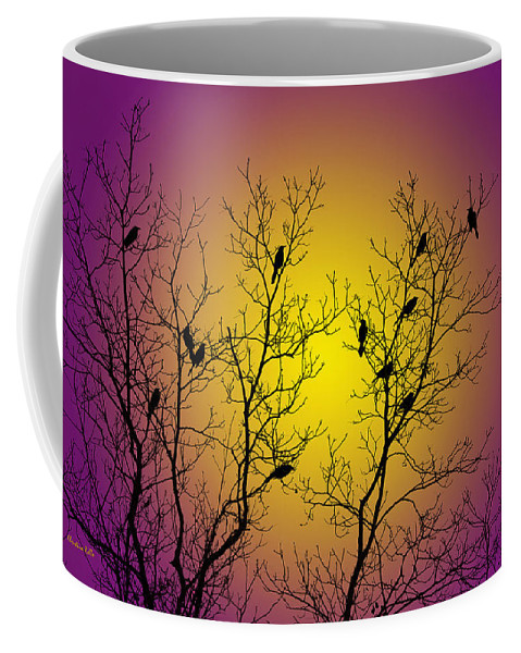 Silhouette Coffee Mug featuring the mixed media Silhouette Birds by Christina Rollo