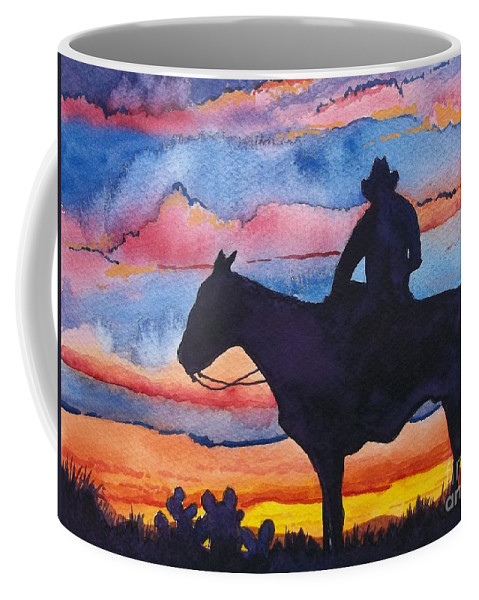 Bright Colors Coffee Mug featuring the painting Silhouette Cowboy by Don Hand