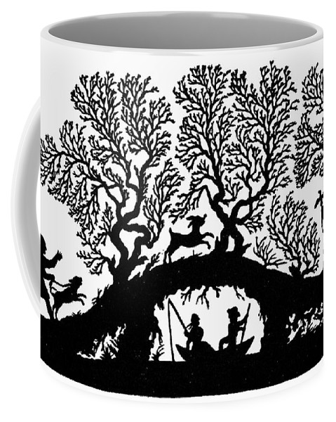 19th Century Coffee Mug featuring the painting Silhouette Fishing by Granger