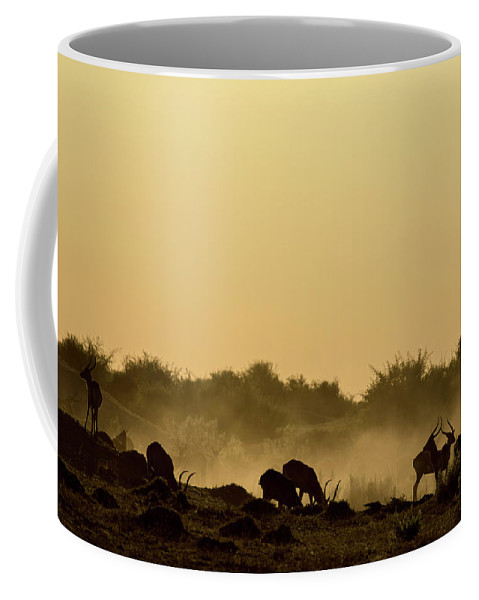 Nature Coffee Mug featuring the photograph Silhouette Of Lechwe, Kobus Leche by Beverly Joubert