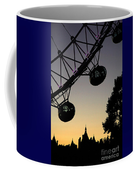 Architecture Coffee Mug featuring the photograph Silhouette Of London Eye by Deborah Benbrook