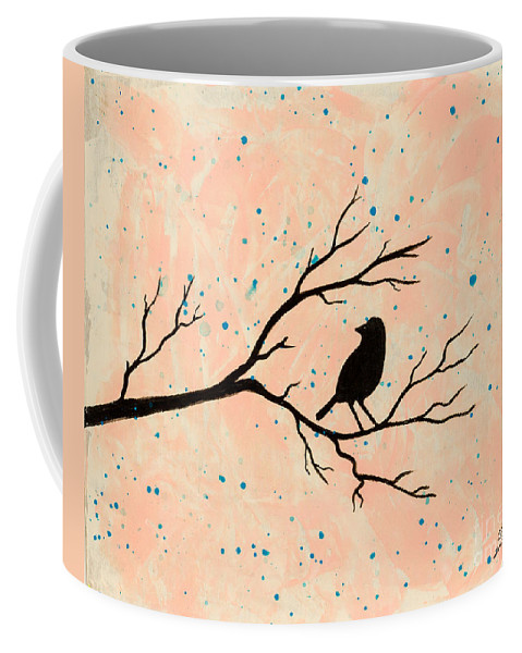 Coffee Mug featuring the painting Silhouette Pink by Stefanie Forck