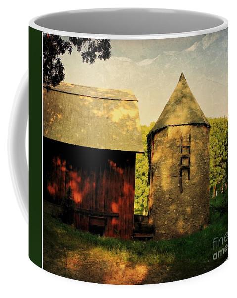 Silo Coffee Mug featuring the photograph Silo Red Barn by Beth Ferris Sale