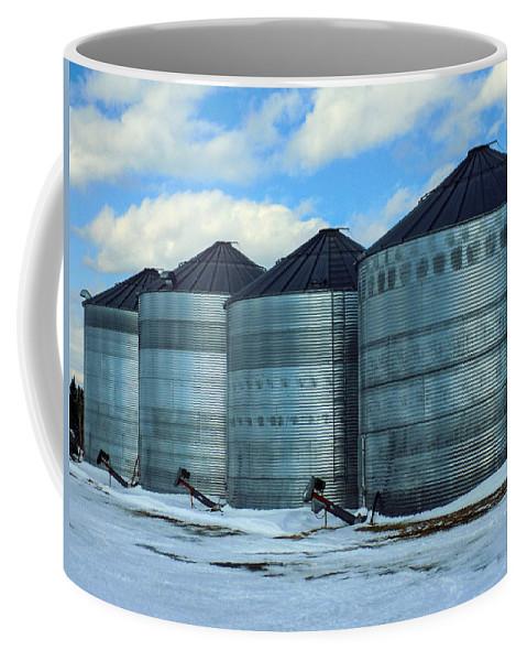 Farming Coffee Mug featuring the photograph Silos by William Tasker