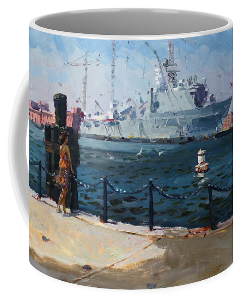 Harbor Coffee Mug featuring the painting Silver Morning by Ylli Haruni
