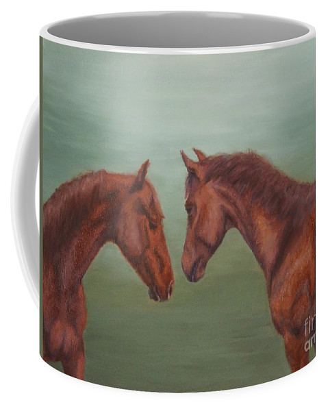 Horses Coffee Mug featuring the painting Silver by Nancy Dunham