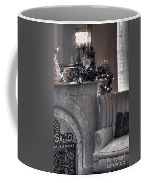Chair; Fireplace; Mirror; Garland; Living Room; Sitting Room; Mantle; Hearth; Sofa; Pillow; Vintage; Silver; Christmas; Season; Seasonal; Light; Window; Drapes; Interior; Inside; Indoors; Silver Screen; 1940s Coffee Mug featuring the photograph Silver Screen by Margie Hurwich