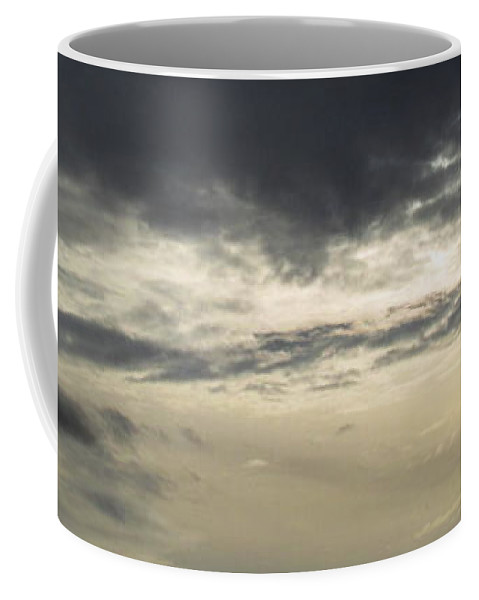 Silver Sky Silver Skyscape Gray Skyscape Gray Clouds Silver Clouds Atmosphere Art Grey Skies Silver Cloudscape Stormy Sky November Sky Northeast Us Weather Grayscape Bad Weather Autumn Weatherscape Coffee Mug featuring the photograph Silver Sky by Joshua Bales