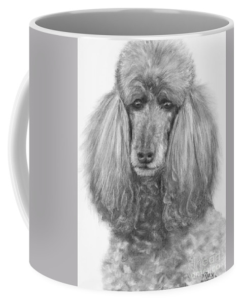 Poodle Coffee Mug featuring the drawing Silver Standard Poodle Drawing by Kate Sumners